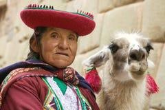 CUSCO, PERU 26. NOVEMBER 2011: Porträt der alten peruanischen quechua Frau in der traditionellen Kleidung mit Lama in Cusco Stockbilder