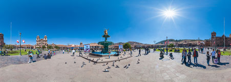 Cusco - Peru. Plaza de Armas - Cusco - Panorama Stock Images
