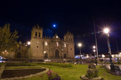 Cusco, Peru, South America, Cathedral of Santo Domingo. Night Views on main square Royalty Free Stock Images
