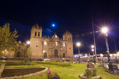 Cusco, Peru, South America, Cathedral of Santo Domingo. Night Views on main square Stock Photography