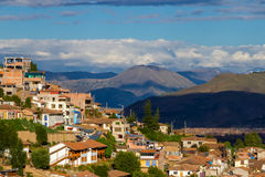 Cusco, Peru. A view of Cusco, Peru highlighting the mountain terrain around the city Stock Image
