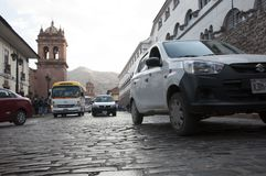Cusco street in Peru. Typical Cusco street in Peru, with its characteristic stone pavement Stock Image
