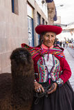 Cusco woman in traditional clothing Royalty Free Stock Images