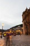 Cuscokathedraal na zonsondergang Stock Fotografie