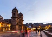 Cuscokathedraal na zonsondergang Stock Afbeeldingen