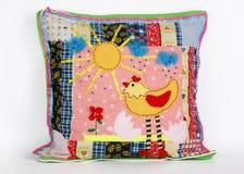Cushion. Child's collage sun handmade stock photos