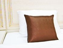 Cushion. Pillow on the bed in the hotel royalty free stock image