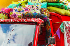 Cushion sale from car roof Stock Photography