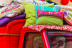 Cushion sale from car roof Stock Photo