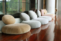 Cushion seat in quiet room for meditation royalty free stock photography
