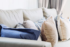 Cushion on sofa. Close up of cushion on sofa background stock photography