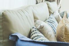 Cushion on sofa. Close up of cushion on sofa background royalty free stock images