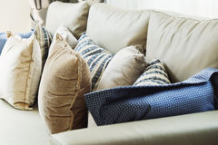 Cushion on sofa. Close up of cushion on sofa background stock photo