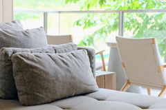 Cushion on sofa. Detail image of Cushion on sofa in modern living room stock photography