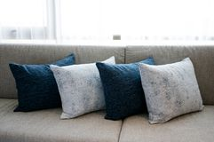 Cushion on sofa at home. Cushion on sofa. Comfortable, interior royalty free stock images