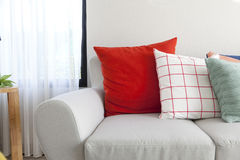 Cushion on sofa in livingroom royalty free stock image
