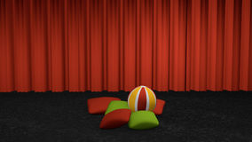 Cushion with a softball. Decorative on carpet floor in front of a curtain. 3d rendering stock illustration