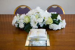 Cushion. On table with flowers for wedding ceremony royalty free stock photos
