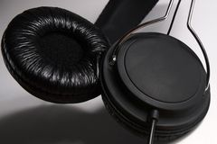 Cushioned Black Headphones Speakers Stock Images