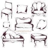 Cushioned furniture. Vector set. Hand drawing Stock Images