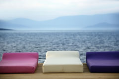 Cushions at the beach royalty free stock image