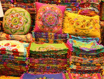 Cushions and cushion covers. Colourful cushions and cushion covers for sale in a market in Istanbul in Turkey stock photo