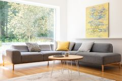 Cushions on grey corner couch in bright living room interior wit. H yellow painting and table. Real photo royalty free stock image