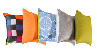 Cushions in a row. Isolated Stock Images