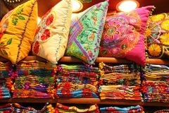 Cushions and scarves for sale Royalty Free Stock Photos