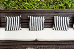 Cushions on the sofa in living room of beach villa Royalty Free Stock Photography