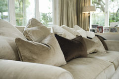 Cushions On Sofa In Living Room Royalty Free Stock Photography