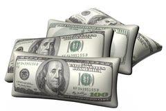 Cushions stylized under hundred-dollar bills. Isolated on white background stock image