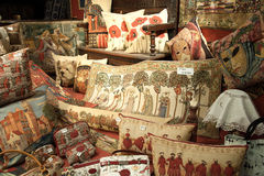 Cushions and tapestries Stock Image