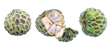 Custard apple. S on isolated background with path....3 different shots Royalty Free Stock Photography