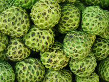 Custard Apple Background. A background of ripe green custard apples Royalty Free Stock Photo