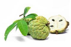 Custard apple fruit with leaves isolated on white background Stock Photo