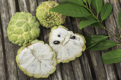 Custard apple fruits on bamboo wood table,top view Stock Image