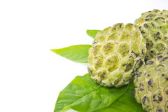 Custard apple  and leaves. On white background Royalty Free Stock Photography