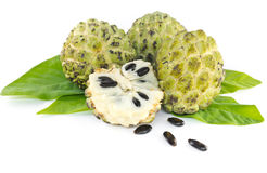 Custard apple  and leaves. On white background Stock Photography