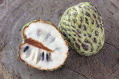 Custard Apple. Slide on wood Royalty Free Stock Photo