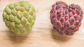Custard apple two species closely. Royalty Free Stock Photography