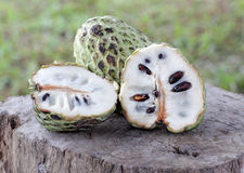 Custard Apple. On wood outdoor Royalty Free Stock Images