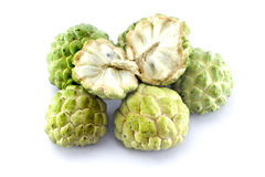 Custard apples group. Custard apples group and  opened one on white background with isolate Royalty Free Stock Photography