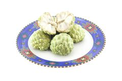 Custard apples group and  opened one Stock Photo