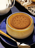 Custard with Biscuit and Cinnamon Royalty Free Stock Image