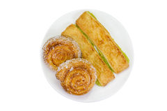 Custard bread and cinnamon rolls isolated on white background,cl Stock Image
