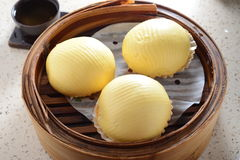 Custard bun. Egg yolk custard bun dim sum royalty free stock photos