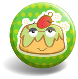 Custard cake on badge Stock Photo