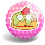 Custard cake on pink badge Stock Images