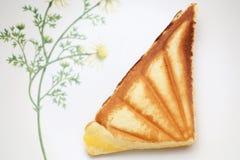 Custard cake sandwich. On dish Stock Images